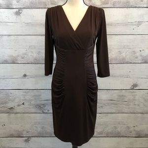 David Meister Womens Sheath Dress Brown Ruched 4